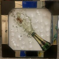 POPPING CHAMPAGNE DIAMOND WINE CRYSTAL LIQUID ART MIRROR FRAME PICTURE WALL