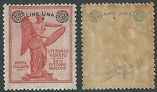 1924 REGNO SOPRASTAMPATO 1 LIRA SU 10 CENT DECALCO MNH ** GOMMA SCURA - Y157