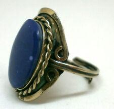 """Anillo Artesanal """" Abril  """" piedra de Agata azul Base  en alpaca"""