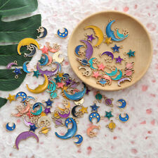 10PCS/pack Multi-style Enamel Planet Moon Stars Charms Pendant For DIY Necklace