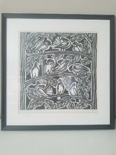 Original Jacques Hnizdovsky Pigeons Linocut, Signed, Dated by artist 60/100