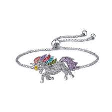 Silver Tone Crystal Rhinestone Unicorn Adjustable Friendship Bracelet Bangle BS