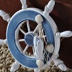 Nautical Beach Wooden Boat Ship Steering Wheel Fishing Net Shell Home Wall Decor