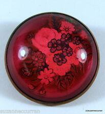 Horse Bridle Rosette Pin Red Glass Roses Forget Me Nots