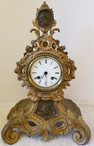 ANTIQUE WORKING 1840's VINCENTI FRENCH VICTORIAN SILK SUSPENSION MANTEL CLOCK