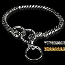 Gold Silver Dog Chain Choke Collar Stainless Steel Snake Slip Training Collars