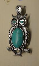Silver-tone metal Turquoise OWL Wisdom symbol Magnetic Pendant AC22C-8/22
