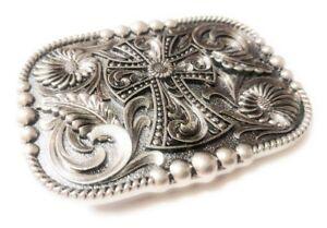 REC1 ✖ WESTERN STEER Cross Cowboy Rodeo Style ✖ Belt Buckle Buck ✖ Silver color