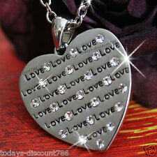 NEW Gift For Her Worded Heart Necklace Crystal Silver Girlfriend Wife Women Xmas