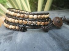 Eggs Jasper Leather Wrap Bracelet