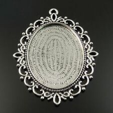 Vintage Silver Lace Cameo Setting Cabochon Tray Inner Size 40*30mm 5pcs
