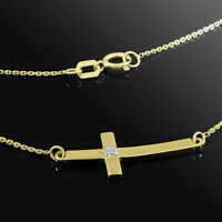 14K Gold Sideways Small Curved Diamond Cross Pendant Necklace