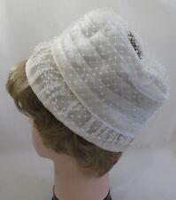 Vintage 1950s Ladies Womens Summer Cloche Hat White Fashion Accessory Dress 3167
