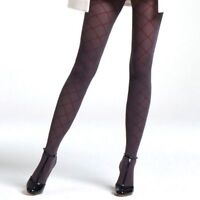Jonathan Aston Momento Diamond Tights. Polyamide. Grey-Burgundy. JAEV. 1 Pair
