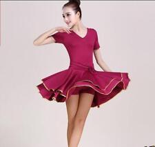 Vestido de baile para Mujer cuadrado Latino Tango Salón de Baile Faldas Cortas Columpio Doble Capas