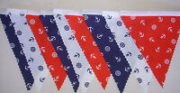Nautical Red White Blue Fabric Bunting Party Decorations 2mt or more homemade
