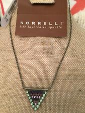 Sorrelli African Violet Necklace Classic triangle Pendant    antique silver tone