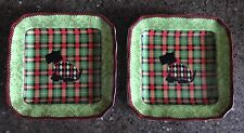 """TWO- 222 FIFTH Adorable Scotty dog in Argyle Sweater 6.25"""" Plaid Plate"""