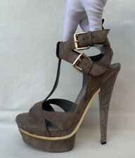 GUCCI Amazing Suede Lifford Platform Gladiator Khaki Sandal Heels EU 38/US 7.5
