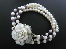 3 Rows 7-8mm Real White Pearl Amethyst 18KWGP Shell Flower Clasp Bangle Bracelet