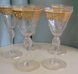 Gorgeous Set of 5 Blown Octagonal Venetian Wine Glasses Gold Scroll Dot Design