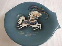 Vintage Sasha Brastoff carousel horse footed commemorative dish