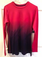 Reebok Women's Compression Shirt Athletic Top Ombré Pink Geometric Sz XL NEW