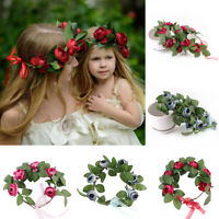 HN- Rose Flower Crown Bride Floral Hair Wreath Women Wedding Party Headband Char