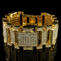 14k Gold ICED OUT MicroPave Lab Diamond Mens Bling Hip Hop Adjustable Bracelet