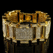 14k Gold Bling Out Iced Micro Pave Simulate Diamond Men Hip Hop Bracelet 1