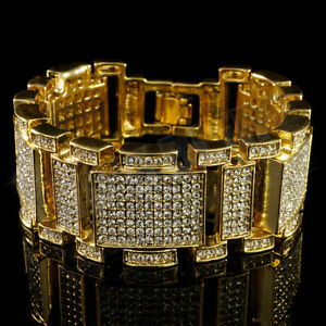 14k Gold Bling Out Iced Micro Pave Simulate Diamond Men Hip Hop Bracelet 1