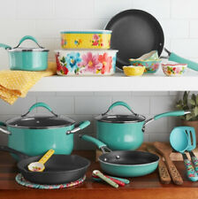 25 Piece Nonstick And Cast Iron Cookware Combo Set Porcelain Enamel Exteriors