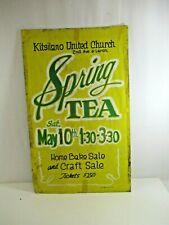 Kitsilano Spring Tea Sign United Church VTG Hand Painted Bake Vancouver 1960s