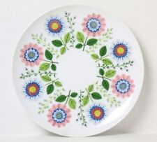 SAKS FIFTH AVENUE Porcelain FLORAL PLATE Pink Blue Flowers