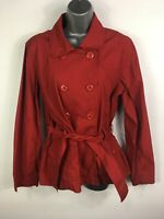 WOMENS CHEROKEE RED COTTON LIGHTWEIGHT DOUBLE BREASTED BELTED TRENCH COAT UK 14
