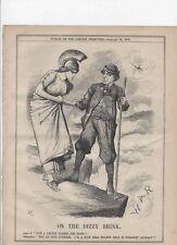 DISRAELI WITH BRITANNIA ON THE BRINK OF WAR 1878 Antique Punch Cartoon.