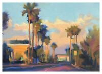 """Carl Dalio ORIGINAL Fine Art Oil Painting - 5""""x7"""" Cityscape Palms California"""