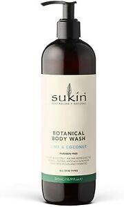Sukin Botanical Body Wash Lime & Coconut Body Wash Clean Hydrate All Skin 500ml