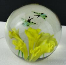 Vintage Blown Glass Flower Paperweight with 2 butterflies - Near mint