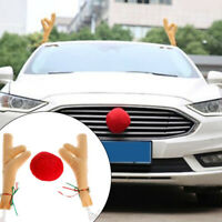 KE_ Christmas Car Decor Large Reindeer Antlers with Bell Red Nose Ball Ornamen