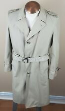 LONDON FOG Men's Belted Trench Coat Medium 38L Zip Out Liner Beige Khaki Rain