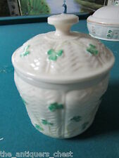 Belleek small shamrock buiscuit barrel, marked with 7th mark(gold 1980/92)