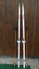 """Ready to Use Cross Country 77"""" TECNOPRO 200 cm Skis WAXLESS Base +  Bamboo Poles"""
