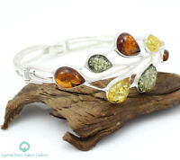 NATURAL BALTIC AMBER STERLING SILVER 925 BRACELET Multi Coloured Certified