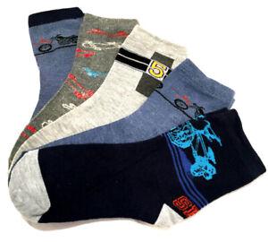 5 PAAR Kinder Socken Strümpfe Jungen bunt Söckchen Sport Sneaker  23-38 #K29