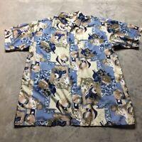 90s VTG VAPORWAVE SILK All Over Print VAPORWAVE XXL Funky Abstract BAROQUE Shirt