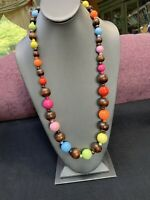 """Bohemian Multi  Color Pastel Bright Wood Beaded Sweater Length Necklace 28"""""""