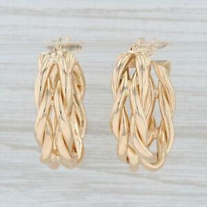 Woven Hoop Earrings 14k Yellow Gold Snap Top Pierced Round Hoops