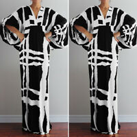 Mode Femme Loose Loisir Manche Longue Col V Imprimé Bohème Robe Dresse Maxi Plus