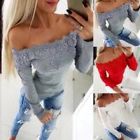 Women Ladies Lace Off Shoulder Slim Fit Shirt Tops Long Sleeve Casual OL Blouse